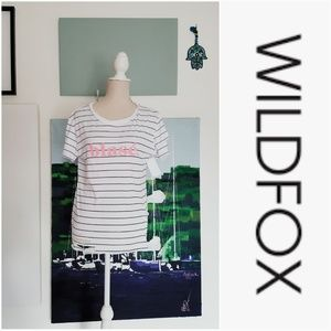 Wildfox Tops - NWT WILDFOX BLACK AND WHITE STRIPE BLASE' TOP